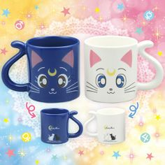 Releasing in March this year - I need to get my hands on these Sailor Moon Luna and Artemis mugs!